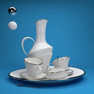 ceramic tea set 3D