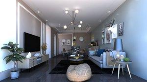 3D living room dining furniture model
