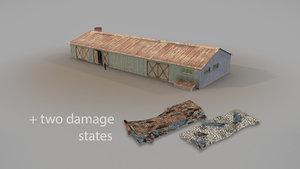 Old Garage 01 blue with damage DMG