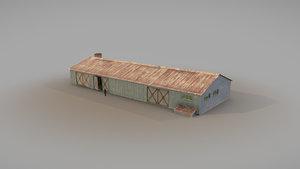 3D old garage 01 blue