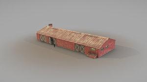 old garage 01 red 3D model
