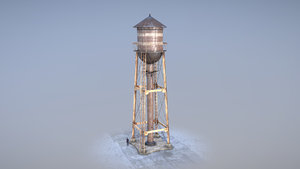 3D model watertower low-poly