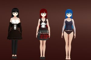 anime goth girls character pack 3D