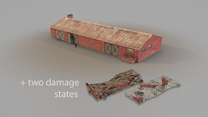 3D old garage 01 red