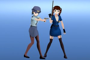 3D anime police officer girl characters