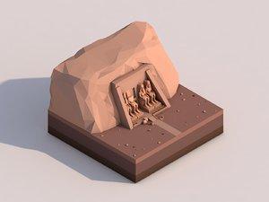 3D cartoon abu simbel landmark model