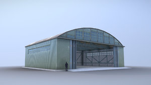 3D airport hangar smallhangar 01 model