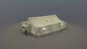 3D military tent 01 desert model