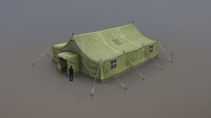 military tent 01 forest 3D model
