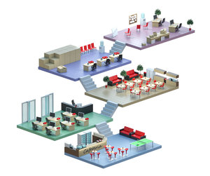 isometric office floor plan model