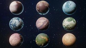 3D model alien sci-fi planets pack