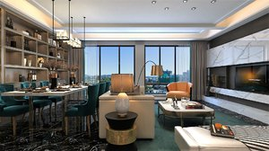 3D house living room kitchen