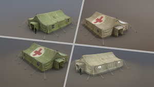 3D model military tent 01 fourliveries