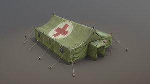 3D military tent 01 medicalforest model