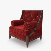 3D red velvet armchair