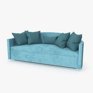 sofa lounge cyan 3D model