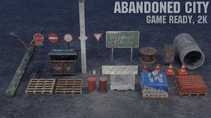 3D model abandoned city scene