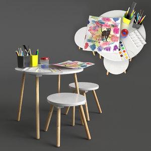 jimi childrens table stool 3D model