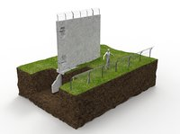 security fence wall section 3D