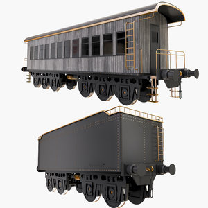 3D model railroad wagons
