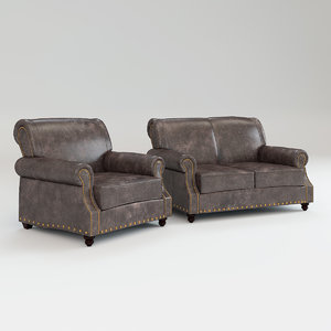 leather sofa chair landry 3D model