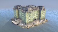 ww2 flakturm iv island 3D model