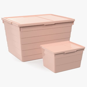 pink plastic storage box 3D model