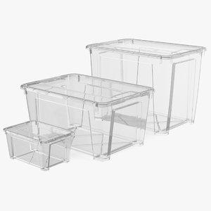 3D transparent plastic containers lids model