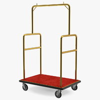 3D gold hotel luggage cart model