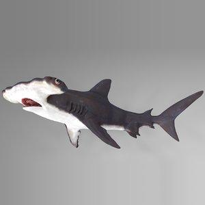 3D hammerhead shark rigged l588 model