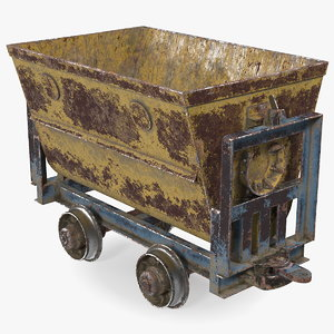 3D mining cart rusted