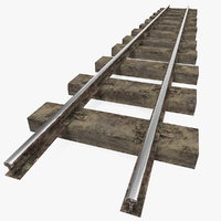 3D mining railway section rails model