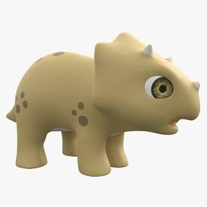 3D model cartoon baby triceratops