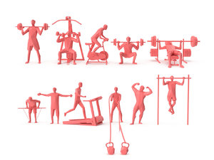 people gym fitness 3D model