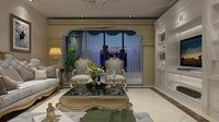 fully furnished decorated living room model
