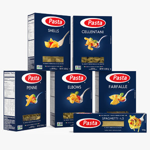 3D dry pasta boxes set