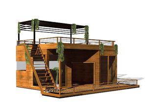 3D floating boat modern house