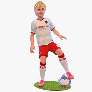 3D rigged soccer player kid