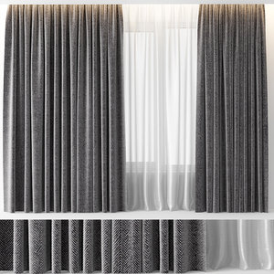 curtains wool grey 3D model