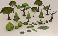 tree flower grass 3D
