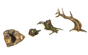 3D broken dead tree stump
