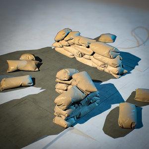 sandbags pbr military model