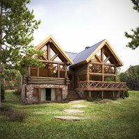 3D House- Log Cabin
