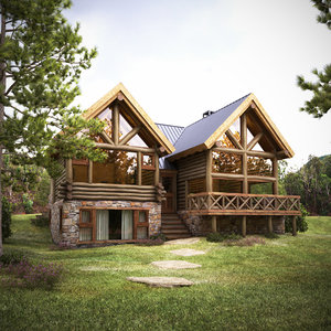 wood house-cabin exterior house 3D model