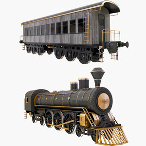 locomotive steam train passenger 3D