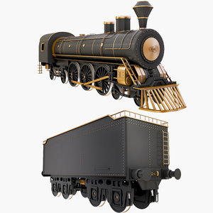 locomotive steam train hopper 3D model