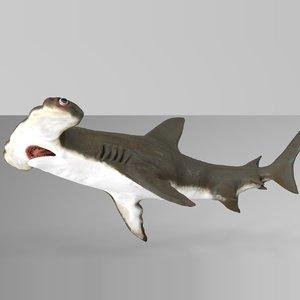 3D hammerhead shark rigged l589 model