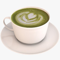 3D matcha green tea latte model