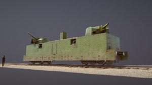 3D armored train pl-37 railway model