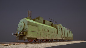3D armored train pr-35 locomotive